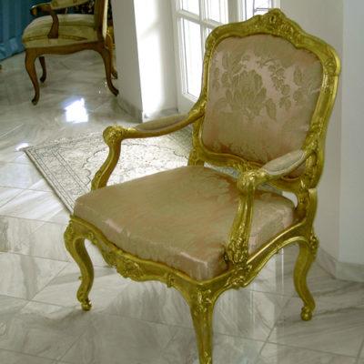 Polsterung antiker Sessel Arbeitsprobe