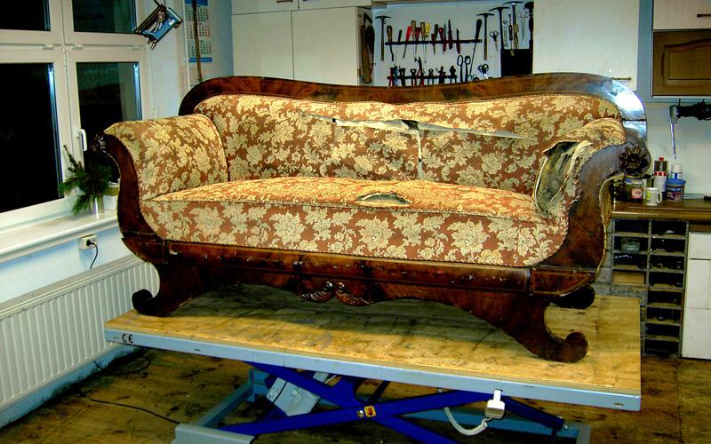 Polster Restaurierung Biedermeier Sofa Schritt 1